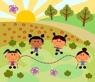 Park scene with jump rope Stock Image
