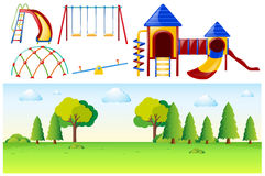 Park scene with many play stations. Illustration Royalty Free Stock Images