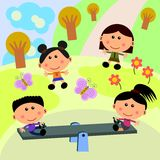 Park scene with seesaw Royalty Free Stock Images