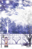 Park scenery of a quiet weekend afternoon - Graphic painting texture Stock Photography
