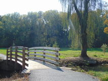 Park Scenery. A rustic bridge engulfed in a park scenery Royalty Free Stock Photography