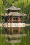 Park scenery, willow, willow, pavilion, the reflec Royalty Free Stock Photo