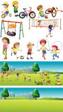 Park scenes with kids playing sports. Illustration Royalty Free Stock Photography