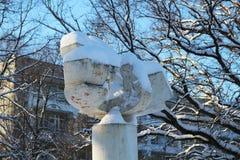 Park sculpture of a phoenix bird in a sanatorium. Close royalty free stock photo