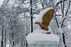 Park sculpture in winter. Photo of a bronze eagle with snow Royalty Free Stock Images