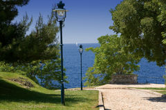 Park by the sea stock photography