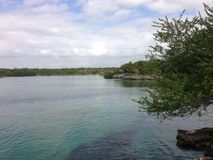 Park, See und Bäume des Wassers Xel-ha lizenzfreies stockfoto