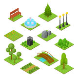 Park Set Isometric View. Vector Stock Images
