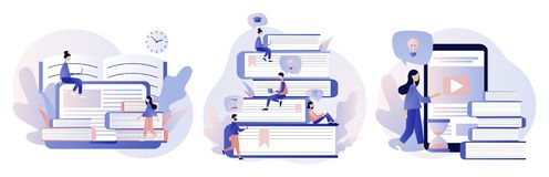 Online Education set. Flat style. Vector illustration stock illustration
