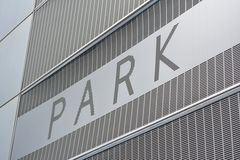 Park Sign. On the exterior of a parking garage Royalty Free Stock Photos