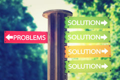 Park signboard with solution and problems arrows pointing in different directions royalty free stock photos