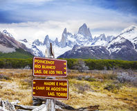 Park signs in Los Glaciares National Park, Fitz Roy, Argentina Royalty Free Stock Image