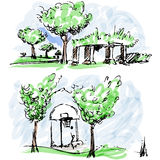 Park Sketches Royalty Free Stock Photos