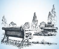 Park skissar royaltyfri illustrationer