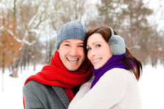 Park snow couple Royalty Free Stock Photo