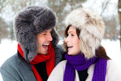 Park snow couple Stock Image