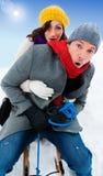 Park snow couple Stock Images