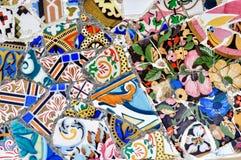 park spain för mosaik för barcelona gaudiguell Arkivbild