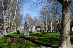 Park square with bandstand bust statue and trees Zagreb Croatia Royalty Free Stock Photo