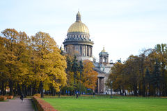 Park about St Isaacs cathedral in autumn day Stock Photography