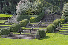 Park Stairs. Large Portland, Oregon Rose Garden park stairs in amphitheater on a spring day Royalty Free Stock Images