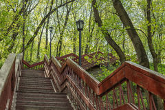 Park stairs. Outdoor wooden stairway in a Moscow city park Stock Image