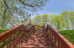 Park stairs. Outdoor wooden stairway in a Moscow city park Royalty Free Stock Photo