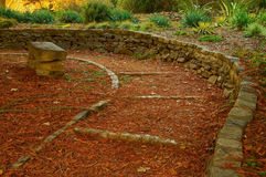 Park stone walled path Royalty Free Stock Photo