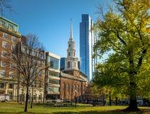 Park-Straßen-Kirche und allgemeiner allgemeiner Park Bostons - Boston, Massachusetts Lizenzfreies Stockfoto