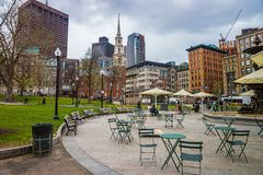 Park Street Church and Boston Common public park Royalty Free Stock Images