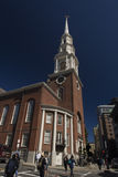 Park Street Church. Boston Massachusetts 1809 building and site for famous speeches. 217 foot steeple Stock Image
