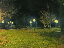Park street lights night Royalty Free Stock Photo