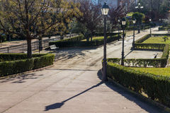 Park with streetlights Royalty Free Stock Photography