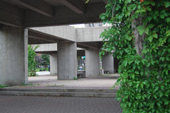 Park structure. A contemporary concrete structure in a park in Montreal, Canada Stock Image