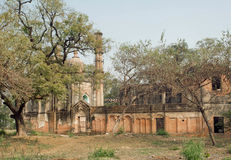 Park with structures of Lucknow Residency built in mughal style in India. Residency took place between 1780 to 1800. Stock Image