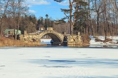 Park in the suburbs of St. Petersburg on a winter sunny day royalty free stock images