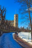 Park in the suburbs of St. Petersburg on a winter sunny day royalty free stock photos