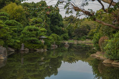 Park in Sumida. Pond seen in Japanese park in Sumida (Tokyo Royalty Free Stock Images