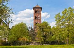 Park in Summer. This image shows a park in summer with a historical tower royalty free stock photo
