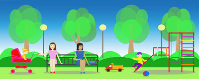 Park in the summer . Mothers with children on playground. Image of summer park and mothers with children on playground Stock Photo