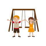 Park with swings and children Royalty Free Stock Photo