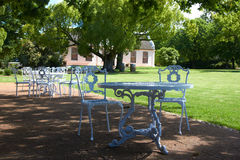 In the park. Table and chairs in the park area Stock Image