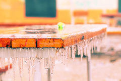 Park table covered with ice Royalty Free Stock Image