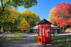 Park. Telephone in the Park in autumn colour royalty free stock images