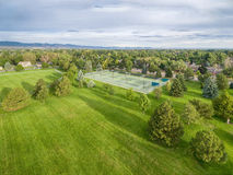 Park and tennis courts aerial view Royalty Free Stock Image