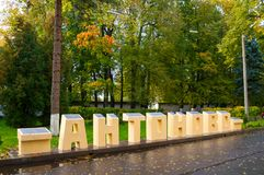 Park at the territory of St Anthony monastery in Veliky Novgorod, Russia. Big stone letters Antonovo in Russian Royalty Free Stock Photos