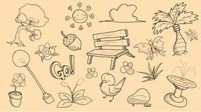 Park Theme Doodle Set Stock Photos
