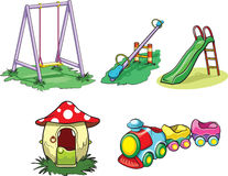 Park toys. Vector illustration of basic kids toys in the park Stock Image