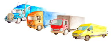 Park of trucks, lorries, van on a white background isolated in watercolor sryle. Drawing row transport set collection lorry car tractor carrier cargo stock image