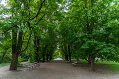 Park Ujazdowski is one of the most picturesque parks of Warsaw, Poland. Warsaw, Mazovia Province / Poland - 05/06/2019. Park Ujazdowski is one of the most stock photography